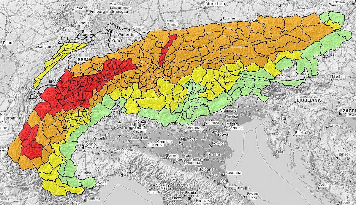 Abb. 2: Lawinenprognose vom 14. März 2019 für den ganzen Alpenraum