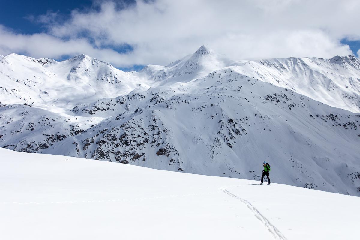 Moderate Skitouren gibt es im Ködnitztal wie hier auf das Kasteneck und das Böse Weibl im Hintergrund