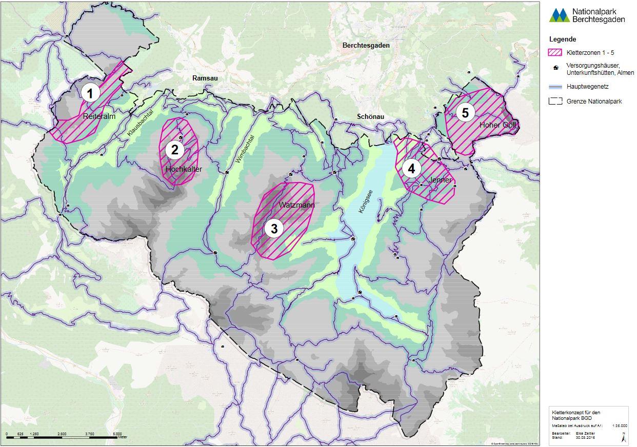 Die Kletterzonen im Nationalpark Berchtesgaden