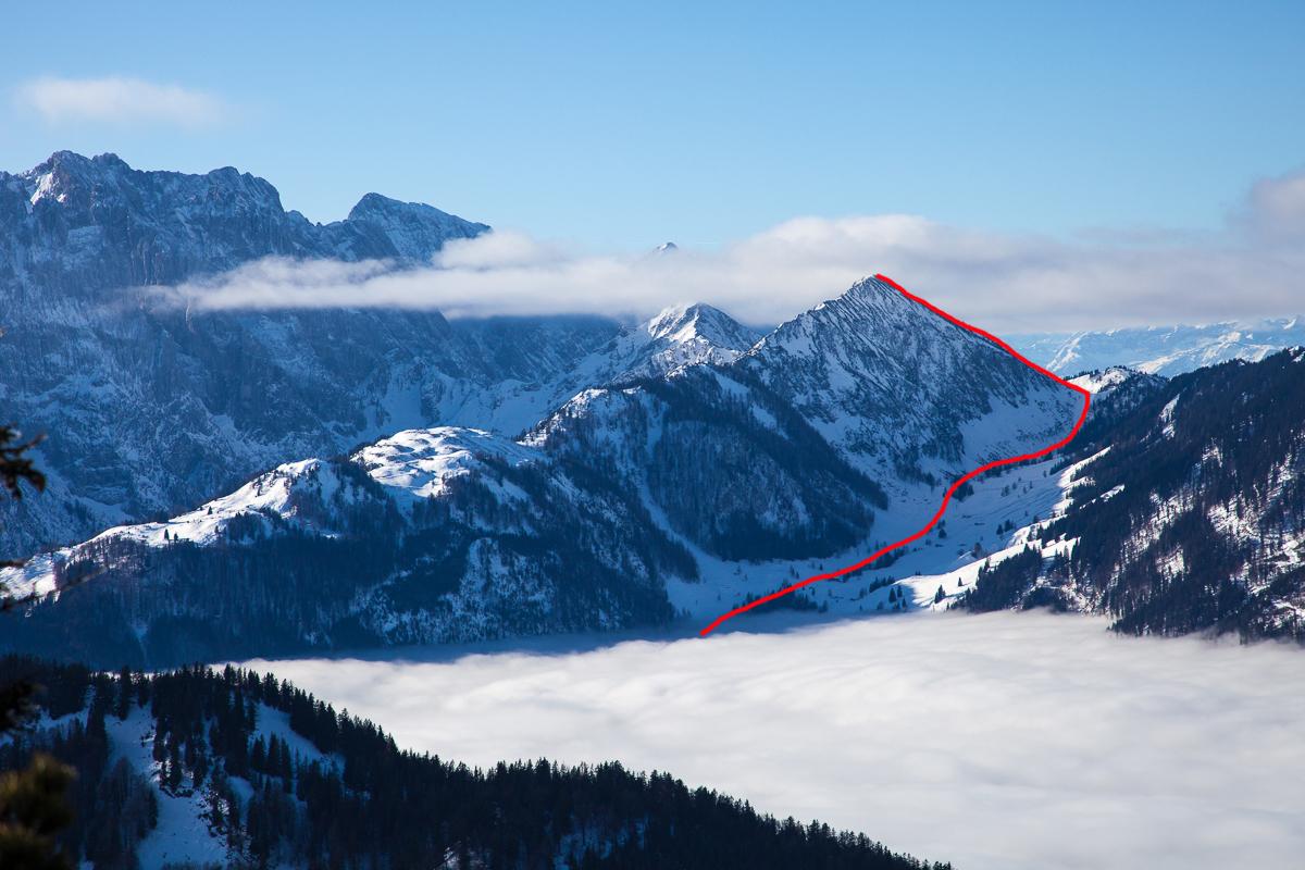 Übersicht über den Skitouren-Anstieg zum Feldberg im Kaisergebirge